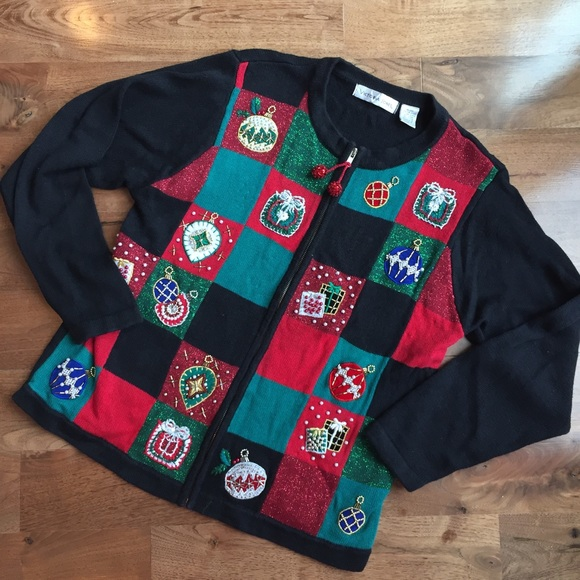SALE Vintage Ugly Christmas Sweater Patch-look Zip